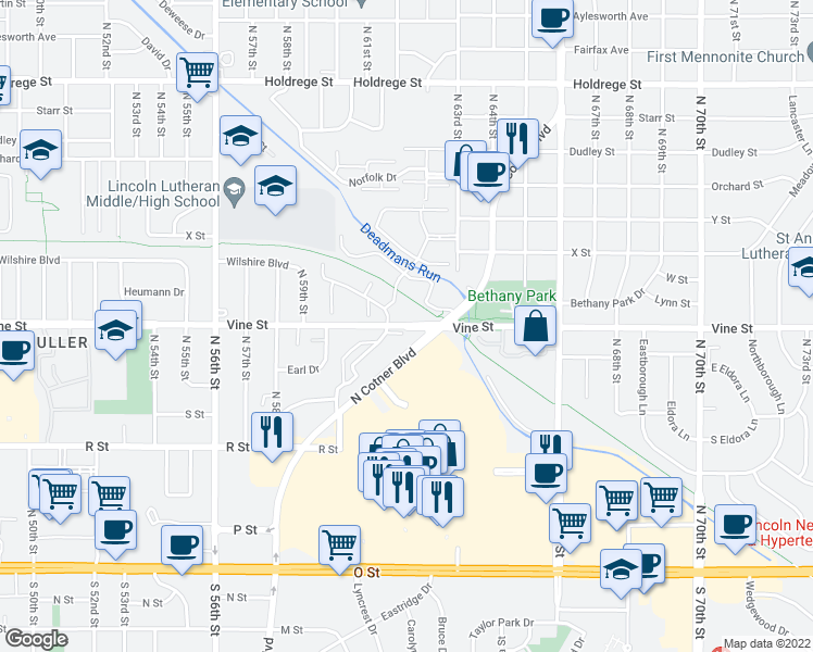 map of restaurants, bars, coffee shops, grocery stores, and more near 5101 Vine Street in Lincoln