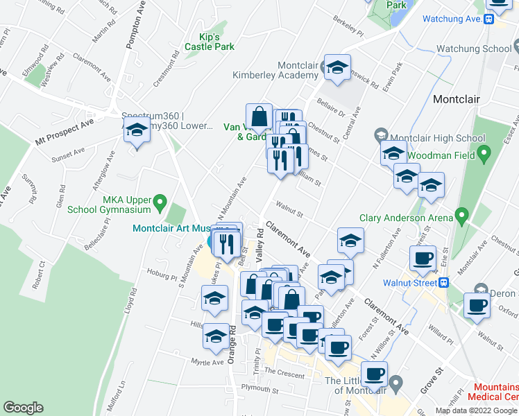 map of restaurants, bars, coffee shops, grocery stores, and more near 100 Valley Road in Montclair