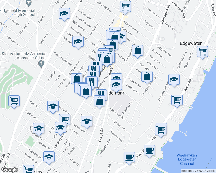 map of restaurants, bars, coffee shops, grocery stores, and more near 545 Gorge Road in Cliffside Park