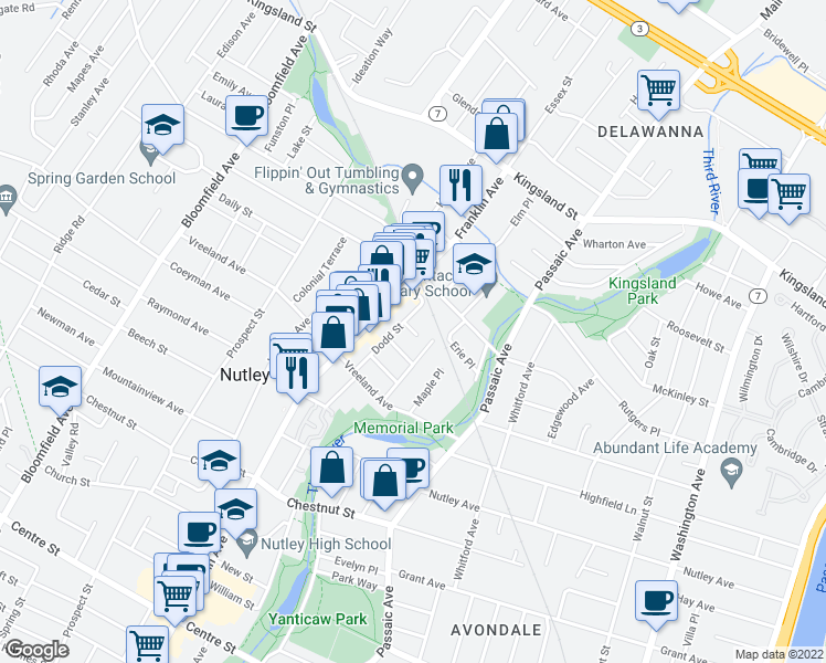 map of restaurants, bars, coffee shops, grocery stores, and more near 55 Dodd Street in Nutley