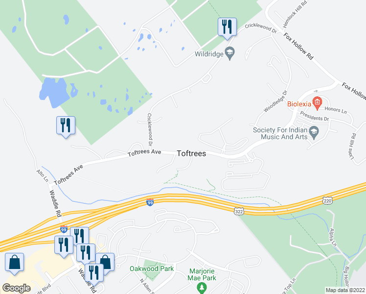 map of restaurants, bars, coffee shops, grocery stores, and more near 501 Toftrees Avenue in State College