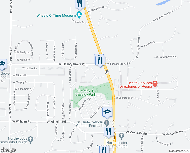 map of restaurants, bars, coffee shops, grocery stores, and more near 1700 West Hickory Grove Road in Dunlap