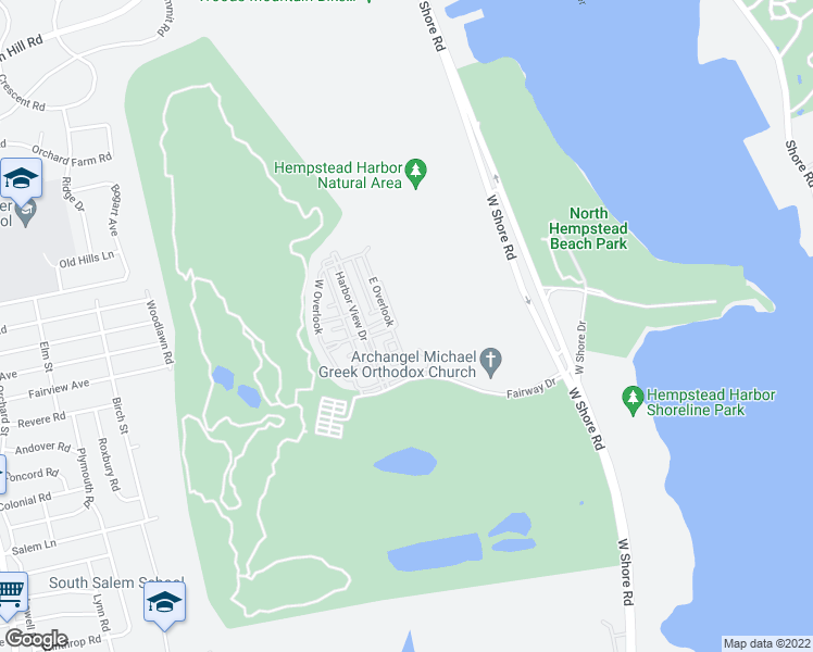 map of restaurants, bars, coffee shops, grocery stores, and more near 300 East Overlook in Port Washington