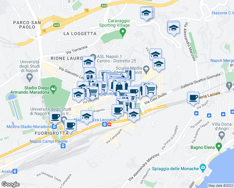 map of restaurants, bars, coffee shops, grocery stores, and more near 47 Via Giacomo Leopardi in Napoli
