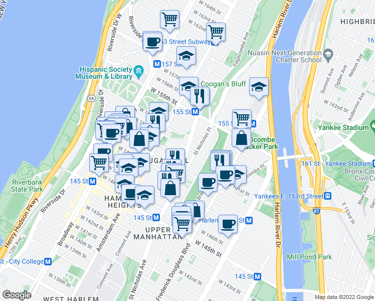 map of restaurants, bars, coffee shops, grocery stores, and more near 829 Saint Nicholas Avenue in New York