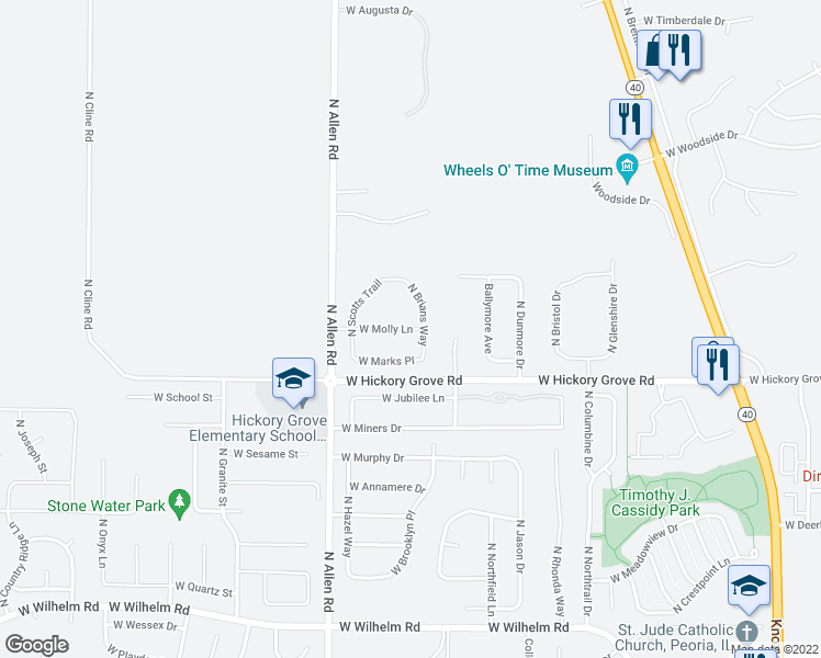 map of restaurants, bars, coffee shops, grocery stores, and more near 11701 North Brians Way in Dunlap