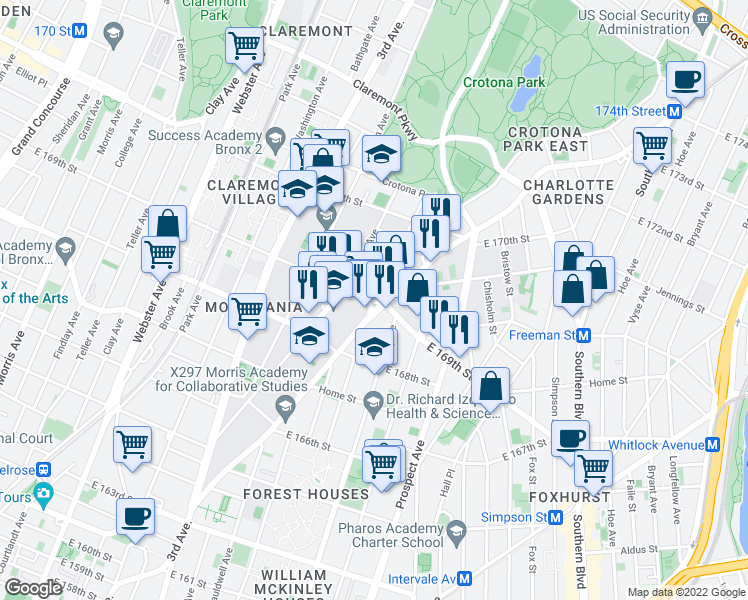 map of restaurants, bars, coffee shops, grocery stores, and more near East 169th Street & Clinton Avenue in Bronx