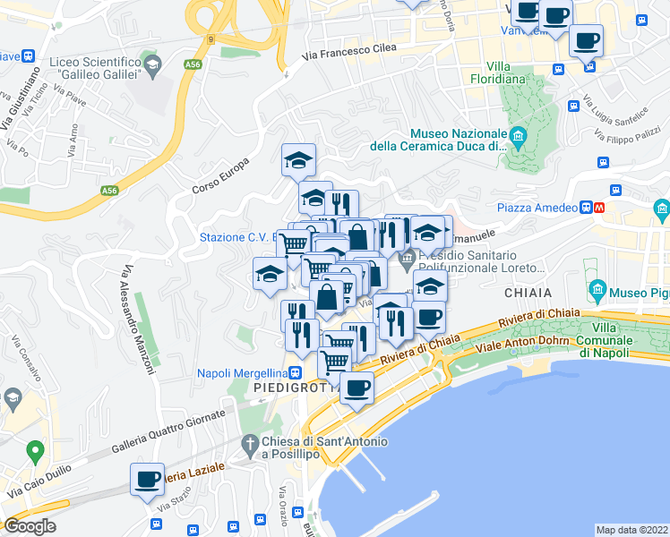 map of restaurants, bars, coffee shops, grocery stores, and more near 65A Via Vincenzo Arangio Ruiz in Napoli
