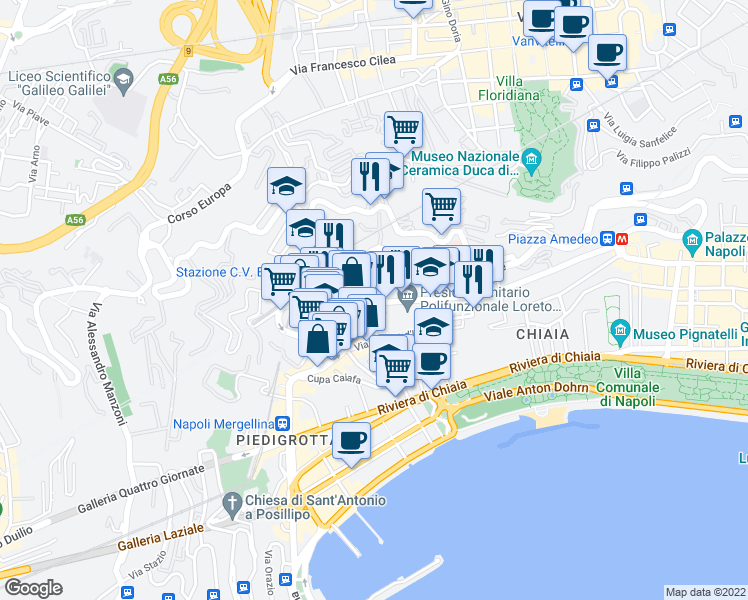 map of restaurants, bars, coffee shops, grocery stores, and more near 45 Vico S. Maria della Neve in Naples