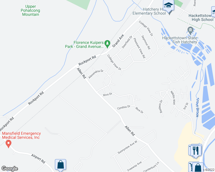 map of restaurants, bars, coffee shops, grocery stores, and more near 120 Alexandria Drive in Hackettstown