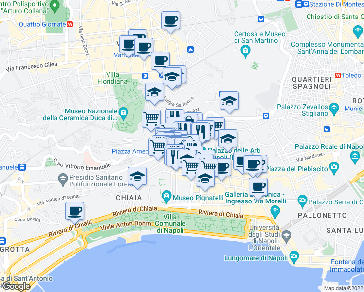 map of restaurants, bars, coffee shops, grocery stores, and more near 15-19 Via Vittoria Colonna in Napoli
