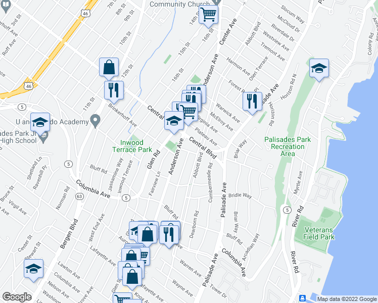 map of restaurants, bars, coffee shops, grocery stores, and more near 1143 Edgewood Lane in Fort Lee