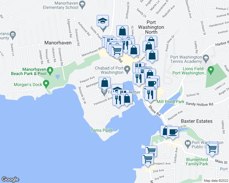 map of restaurants, bars, coffee shops, grocery stores, and more near 6 Corchaug Avenue in Port Washington