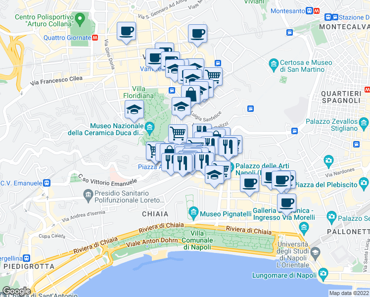 map of restaurants, bars, coffee shops, grocery stores, and more near 166 Corso Vittorio Emanuele in Naples