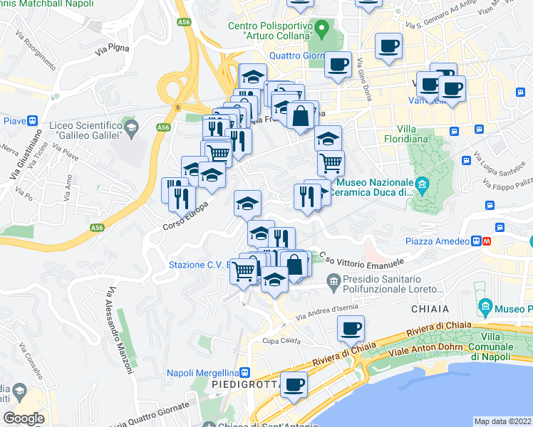 map of restaurants, bars, coffee shops, grocery stores, and more near 420 Via Aniello Falcone in Napoli