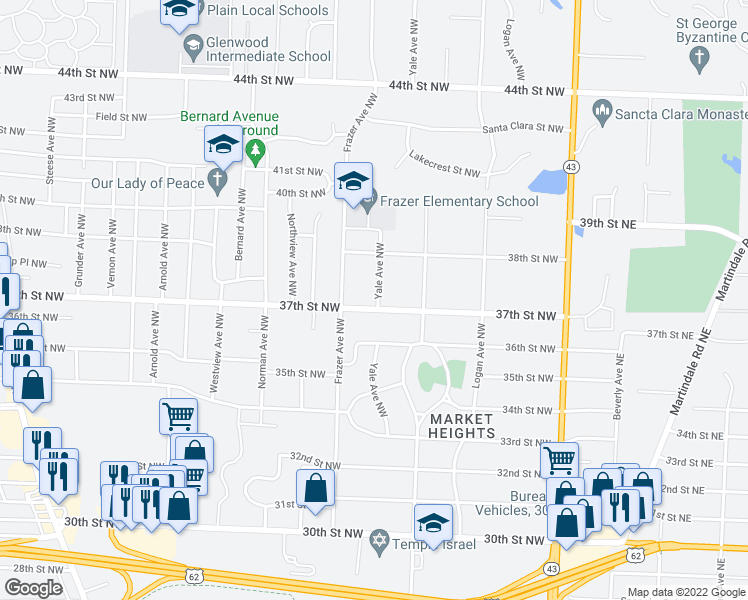 map of restaurants, bars, coffee shops, grocery stores, and more near 503 37th Street Northwest in Canton