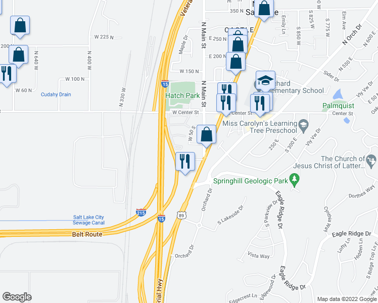 map of restaurants, bars, coffee shops, grocery stores, and more near 37 West 100 South in North Salt Lake