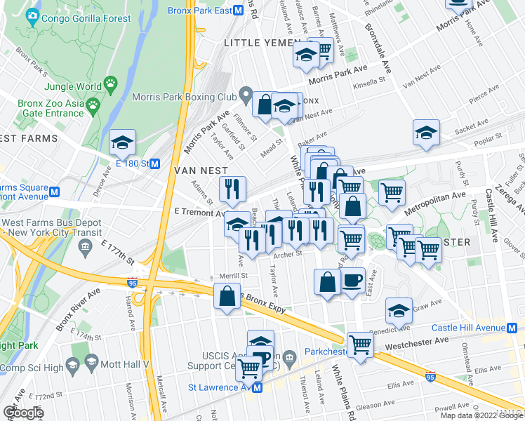map of restaurants, bars, coffee shops, grocery stores, and more near 1535 Beach Avenue in Bronx