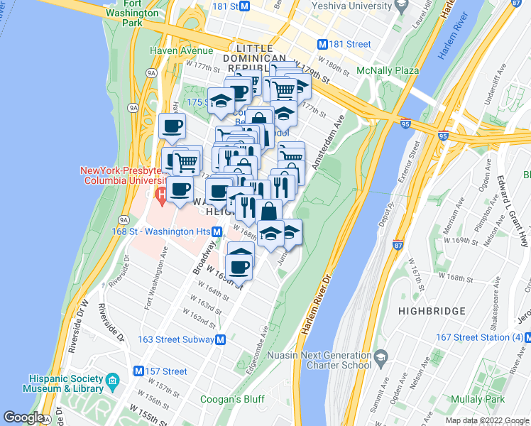 map of restaurants, bars, coffee shops, grocery stores, and more near 548 West 171st Street in New York
