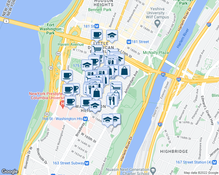 map of restaurants, bars, coffee shops, grocery stores, and more near 554 West 173rd Street in New York