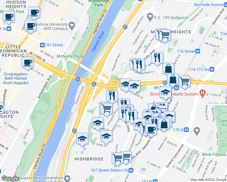 map of restaurants, bars, coffee shops, grocery stores, and more near 1402 West 172nd Street in Bronx