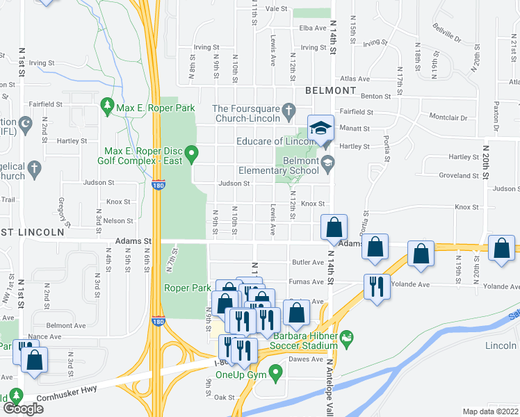 map of restaurants, bars, coffee shops, grocery stores, and more near 1107 Knox St in Lincoln