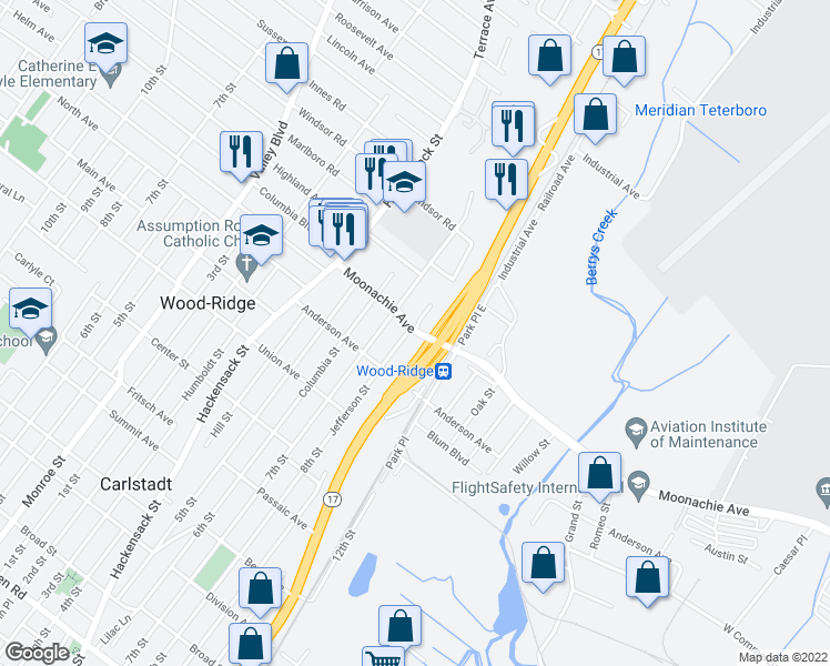 map of restaurants, bars, coffee shops, grocery stores, and more near 580-594 Moonachie Avenue in Wood-Ridge
