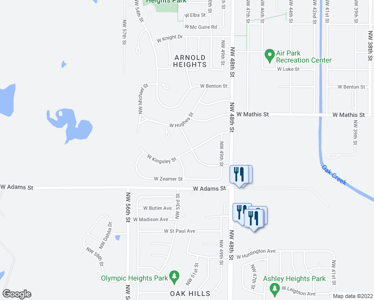 map of restaurants, bars, coffee shops, grocery stores, and more near 5120 West Kingsley Street in Lincoln