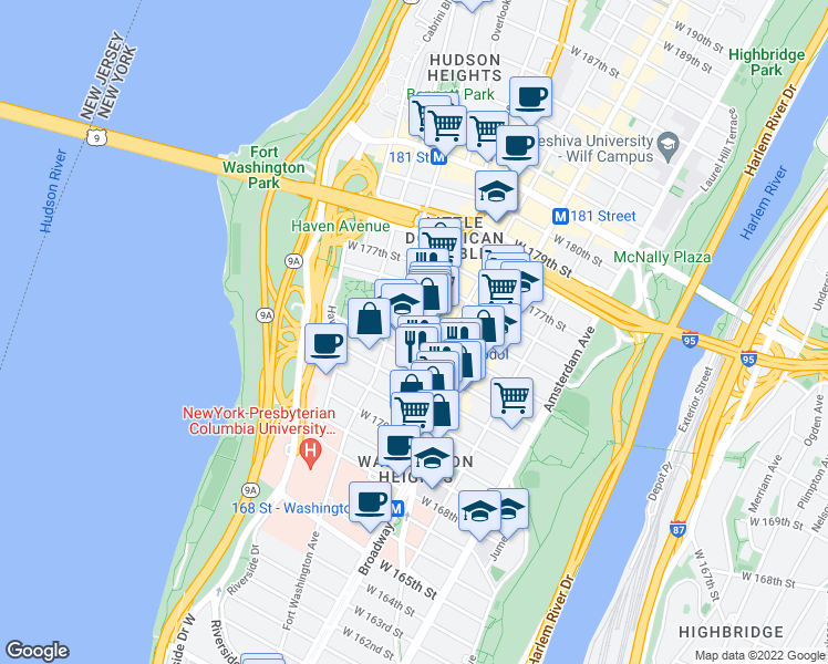 map of restaurants, bars, coffee shops, grocery stores, and more near 639 West 173rd Street in New York