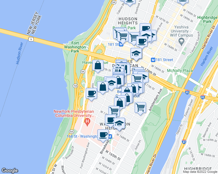 map of restaurants, bars, coffee shops, grocery stores, and more near 725 West 175th Street in New York