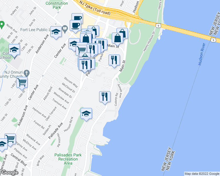 map of restaurants, bars, coffee shops, grocery stores, and more near 1528-1538 River Road in Edgewater