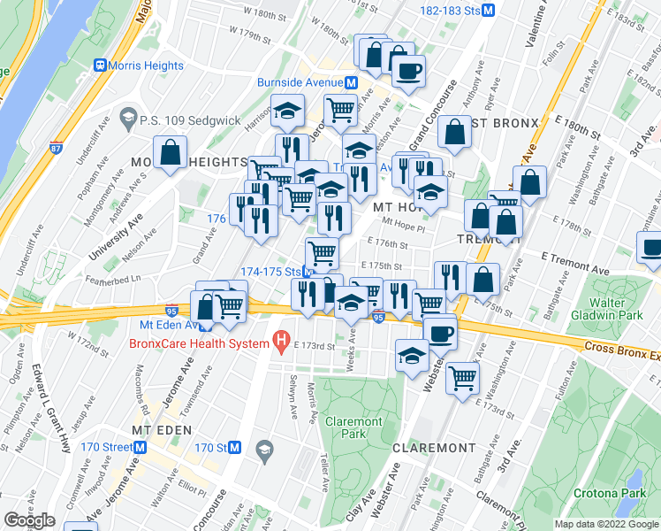 map of restaurants, bars, coffee shops, grocery stores, and more near Grand Concourse in Bronx