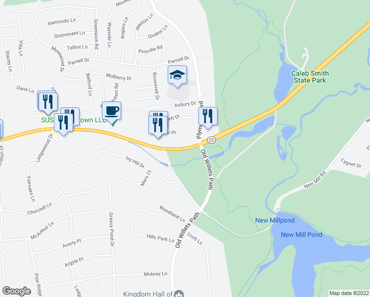 map of restaurants, bars, coffee shops, grocery stores, and more near 800 West Jericho Turnpike in Smithtown