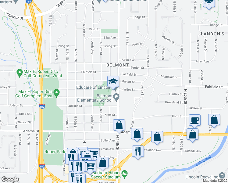 map of restaurants, bars, coffee shops, grocery stores, and more near 3425 North 14th Street in Lincoln