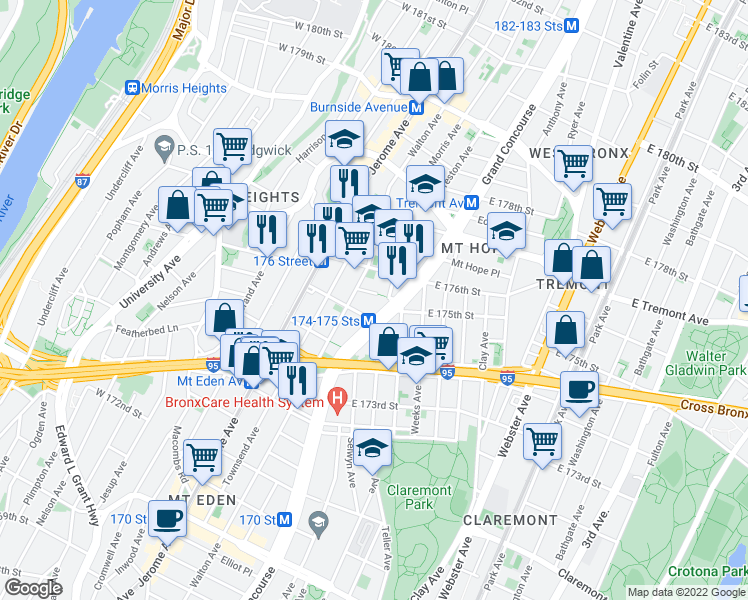 map of restaurants, bars, coffee shops, grocery stores, and more near 1773 Grand Concourse in Bronx