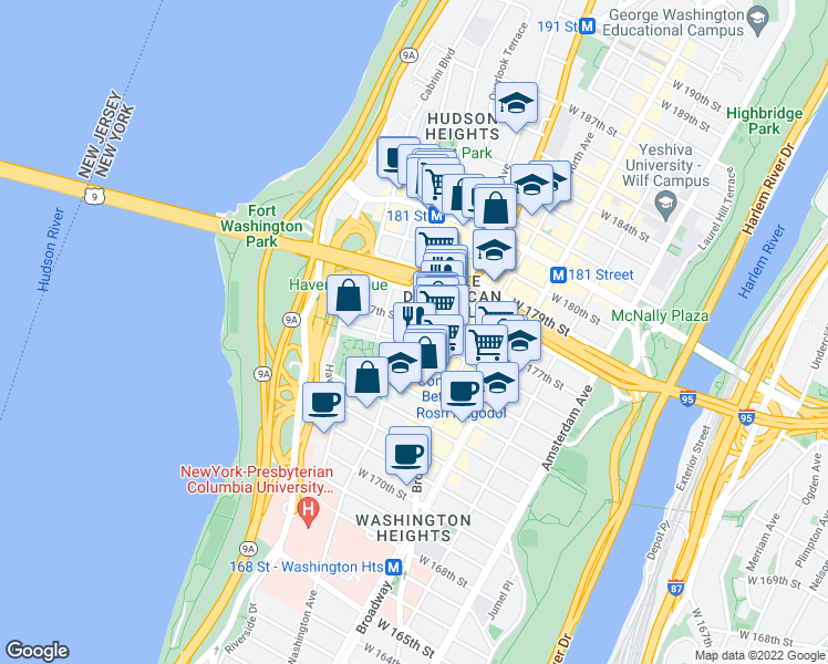 map of restaurants, bars, coffee shops, grocery stores, and more near 383-385 Fort Washington Avenue in New York