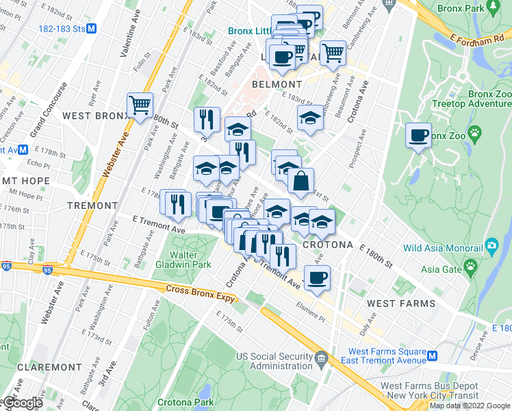map of restaurants, bars, coffee shops, grocery stores, and more near 2023 Belmont Avenue in Bronx