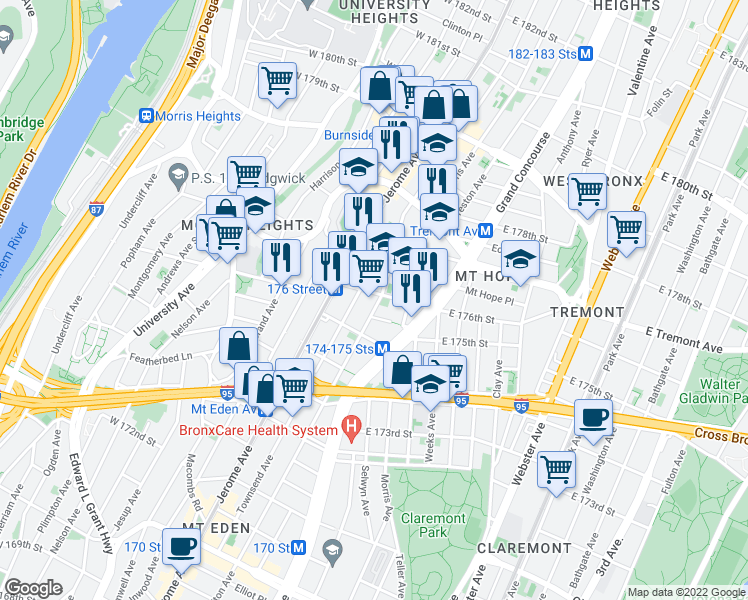 map of restaurants, bars, coffee shops, grocery stores, and more near 110 East 176th Street in Bronx