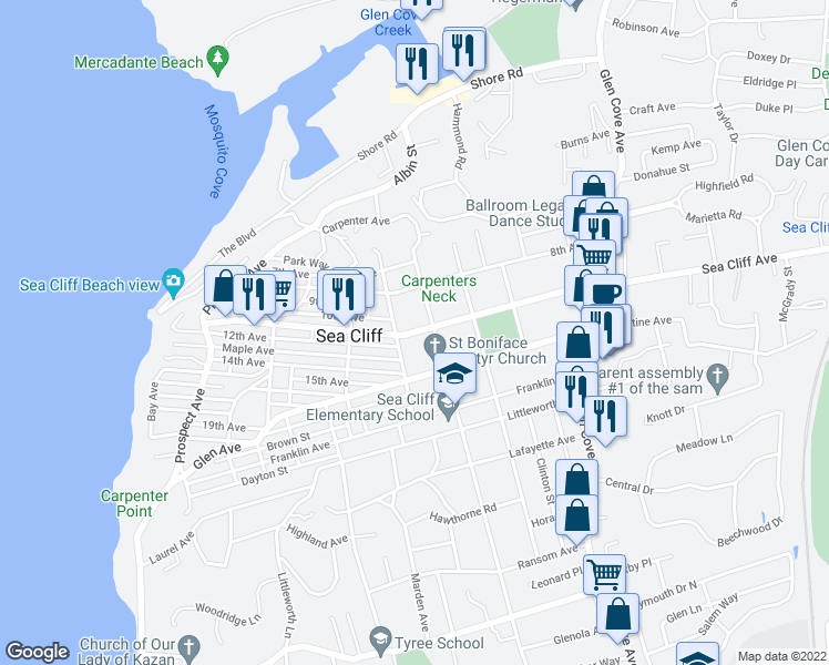 map of restaurants, bars, coffee shops, grocery stores, and more near Sea Cliff Avenue in Sea Cliff