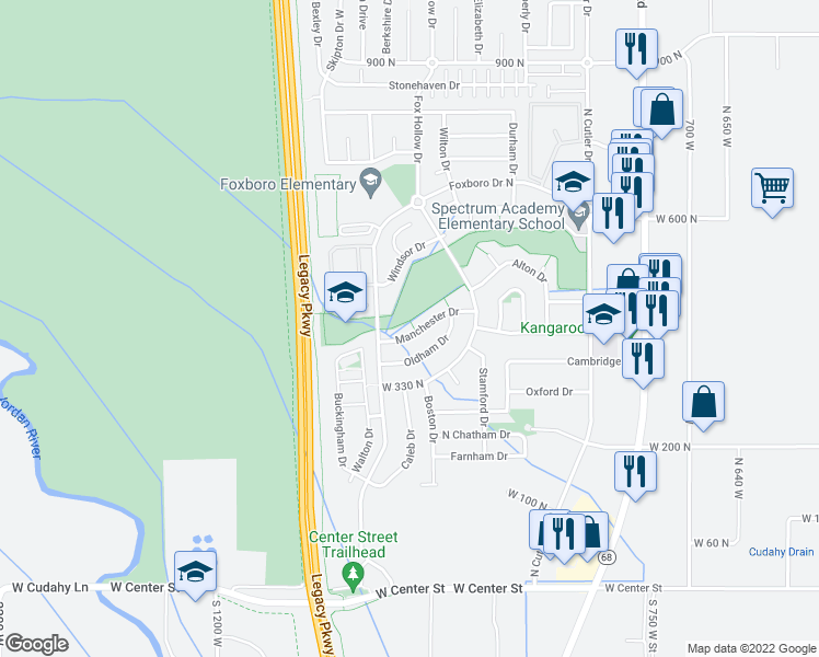 map of restaurants, bars, coffee shops, grocery stores, and more near 1040 Manchester Drive in North Salt Lake