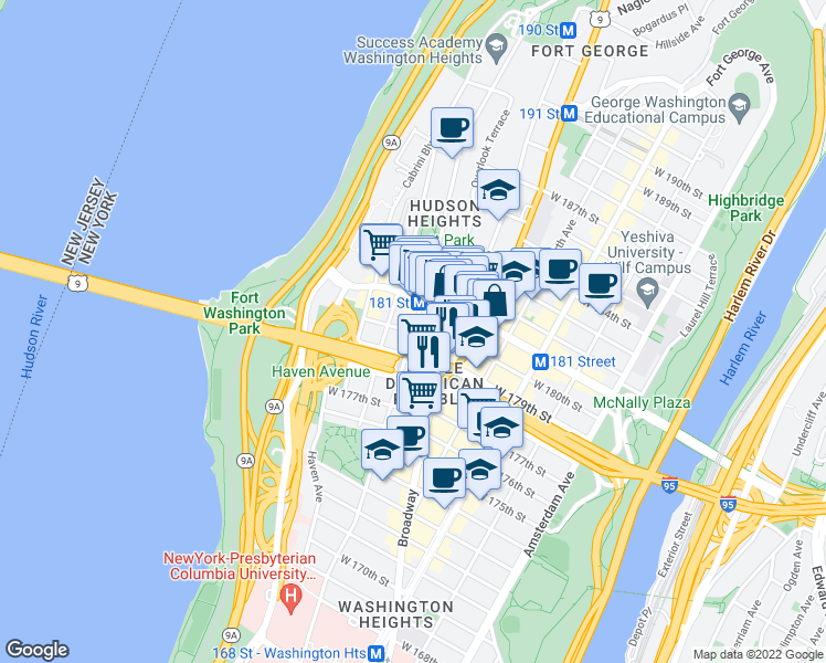 map of restaurants, bars, coffee shops, grocery stores, and more near 705 U.S. 9 in New York