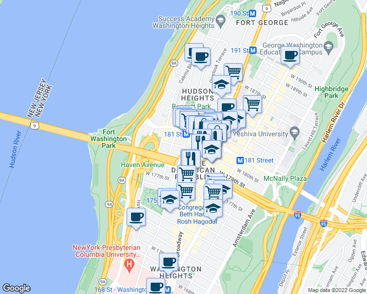 map of restaurants, bars, coffee shops, grocery stores, and more near 711 West 179th Street in New York