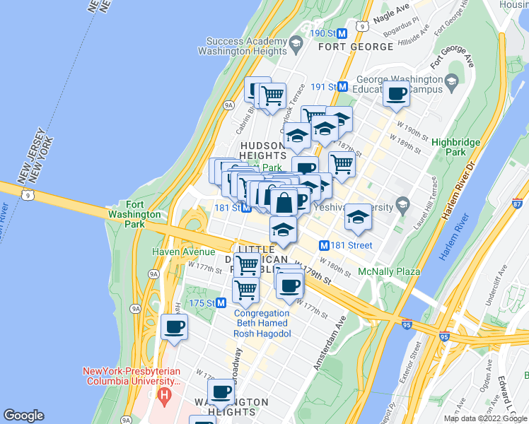 map of restaurants, bars, coffee shops, grocery stores, and more near W 181st St & Colonel Robert Magaw Pl in New York