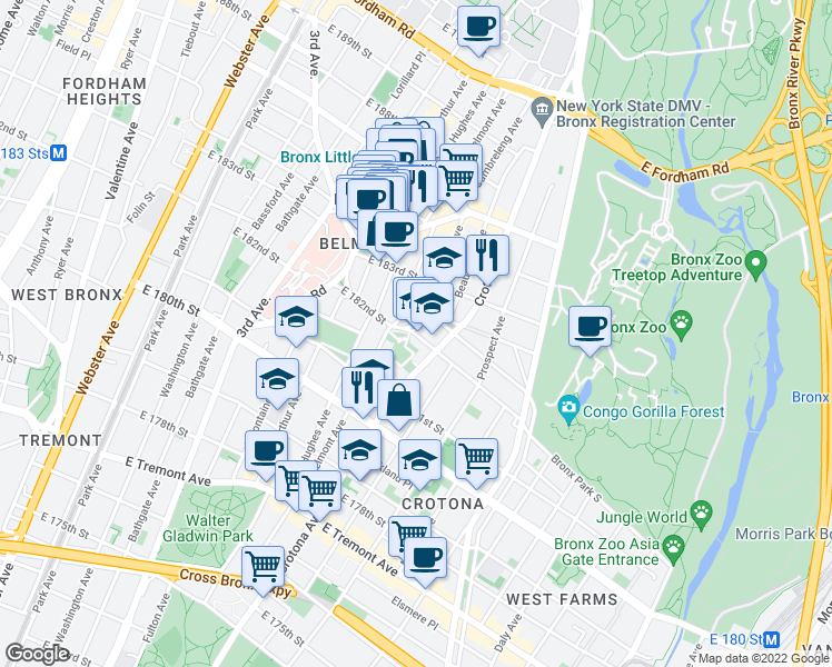 map of restaurants, bars, coffee shops, grocery stores, and more near 664 Grote Street in Bronx