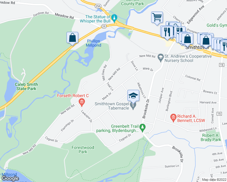 map of restaurants, bars, coffee shops, grocery stores, and more near Mark Drive in Smithtown