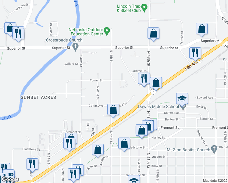 map of restaurants, bars, coffee shops, grocery stores, and more near in Lincoln