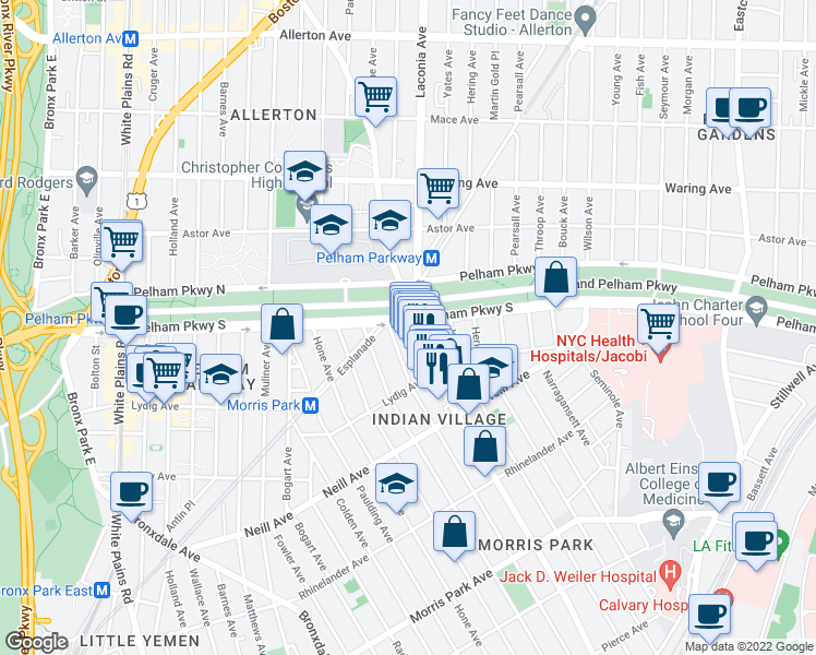 map of restaurants, bars, coffee shops, grocery stores, and more near 1130 Pelham Parkway North in The Bronx