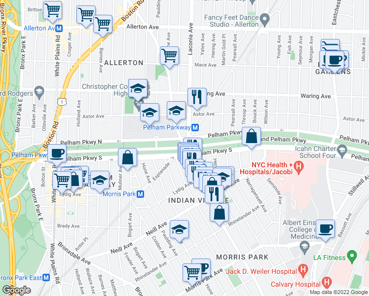 map of restaurants, bars, coffee shops, grocery stores, and more near 1122 Pelham Parkway South in Bronx