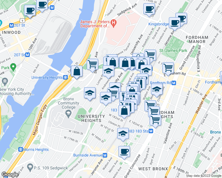 map of restaurants, bars, coffee shops, grocery stores, and more near Aqueduct Avenue East in Bronx