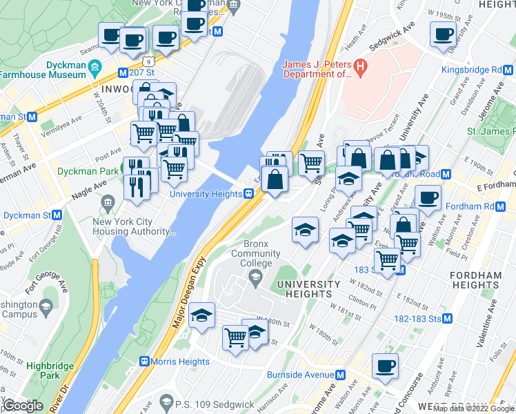 map of restaurants, bars, coffee shops, grocery stores, and more near 2175 Cedar Avenue in Bronx
